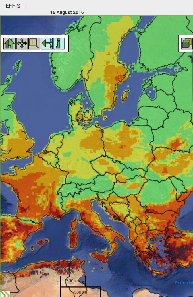 La situazione in tempo reale del rischio incendi in Europa